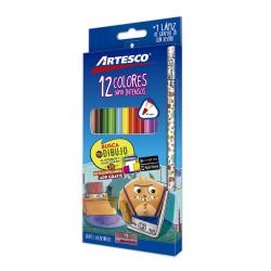 Colores Triangulares Largos x12und + lapiz grafito + tajador