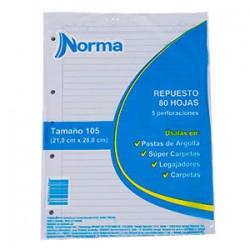 Paquete Repuesto 105 Argolla Cuadros x80hojas Norma